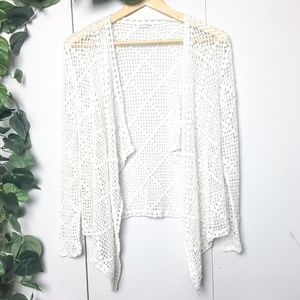 CLUB MONACO White Net Crochet Cardigan